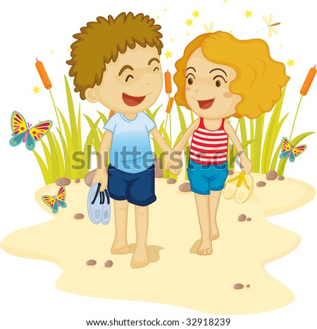 lovers on sand (vector illustration available in portfolio) - stock photo