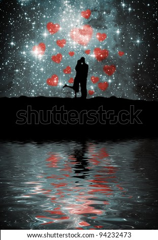 Lovers on the starry sky - stock photo