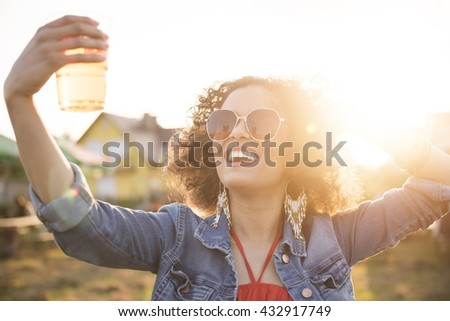 Loves spending time on festivals - stock photo