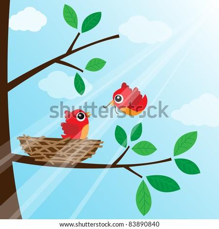 Loving bird feeding - stock photo