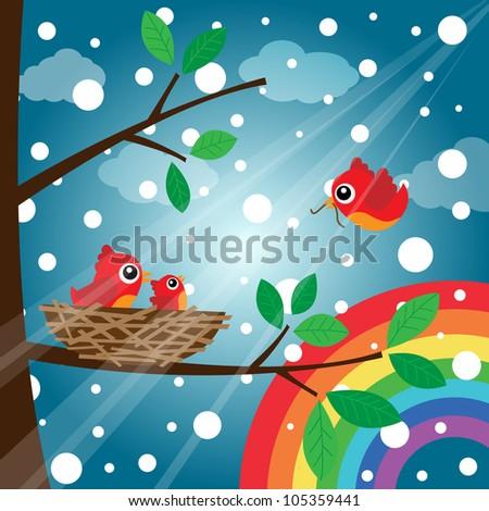 Loving bird feeding in the morning with rainbow - stock photo