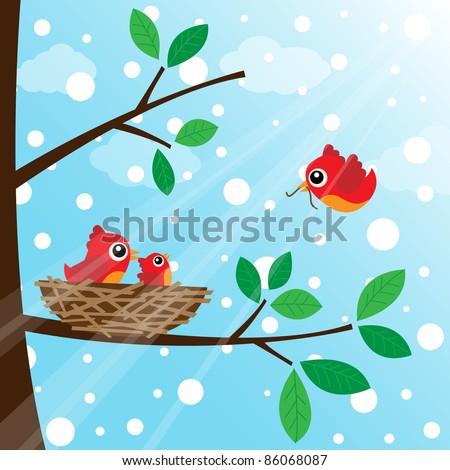 Loving bird feeding with snow - stock photo