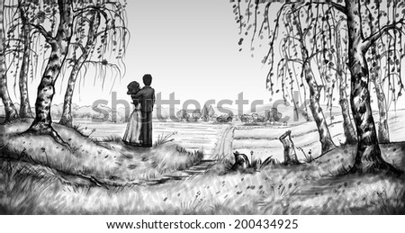 Loving boy and girl illustration - stock photo