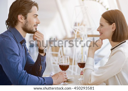 Loving couple dating in cafe
