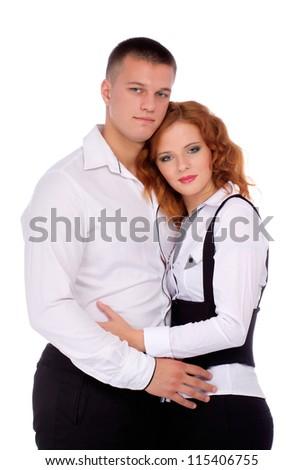 Loving couple embracing isolated on white background - stock photo