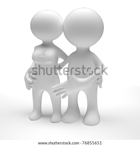 Loving couple hugging isolated over a white background