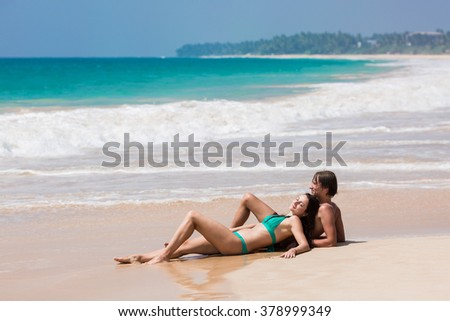 loving couple in the sea