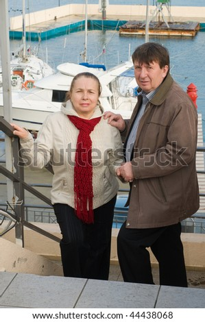 Loving couple in the winter on a resort. - stock photo