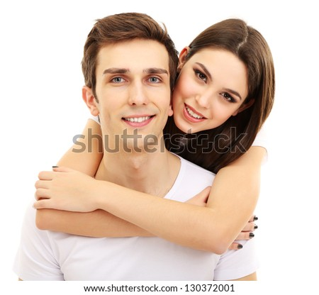 Loving couple isolated on white - stock photo