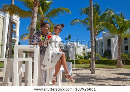 Loving couple looking at each other happiness. Glamorous couple at vacation. - stock photo