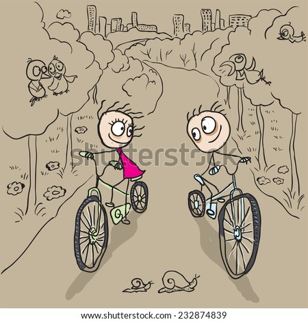 Loving couple man and woman on bicycles - stock photo