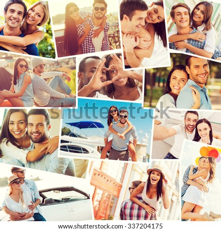 Loving couples. Collage of diverse multi-ethnic loving couples expressing positivity  - stock photo