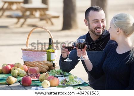 Loving european couple drinking wine and talking on picnic  - stock photo