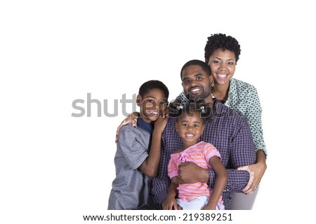 Loving family embracing each other isolated on a white background - stock photo