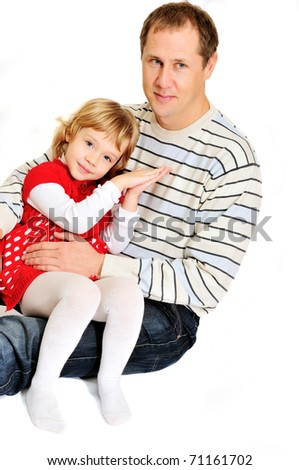 loving father and daughter are hugging over the white - stock photo
