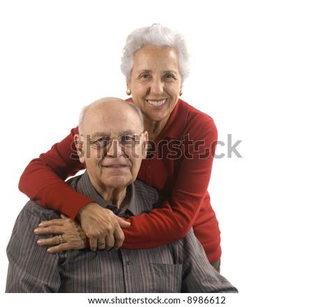 Loving, handsome senior couple - stock photo