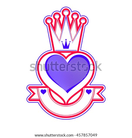 Loving heart artistic illustration with queen crown. Royal sophisticated symbol, imperial accessories. Valentine day romantic design element, best for use in advertising and graphic design. - stock photo