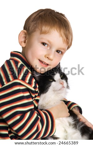 Loving kid with fluffy cat - stock photo