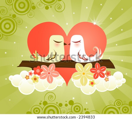 Loving little birds kissing in a heart, surrounded by a radiant green sky, fluffy white clouds & flowers - great for Valentine's Day designs - stock photo