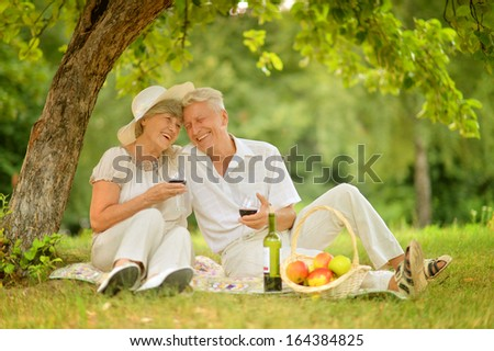 loving mature couple spends time together in the summer outdoors - stock photo