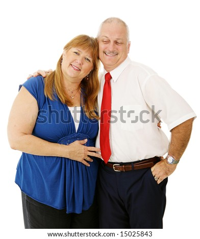 Loving mature couple together, isolated on white background - stock photo