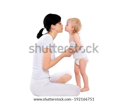 Loving mother and daughter, happy family - stock photo