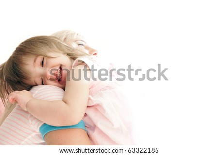 loving mother and daughter over white - stock photo