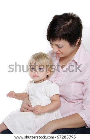 loving mother and daughter over white