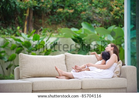 Loving mother and daughter spending time together - stock photo