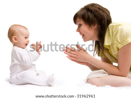 Loving mother with her little cute daughter. Isolated on white background - stock photo