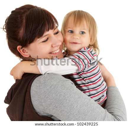 loving mother with son in her arms, white background - stock photo