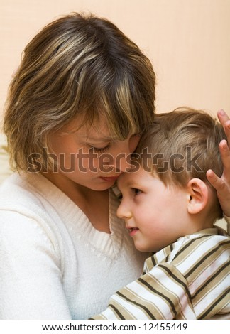 Loving mother with the son - stock photo
