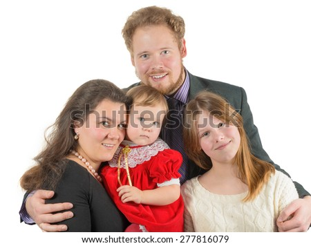 loving parents and kids, shot over white - stock photo