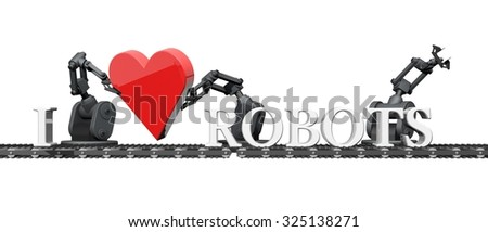 Loving Robots - stock photo