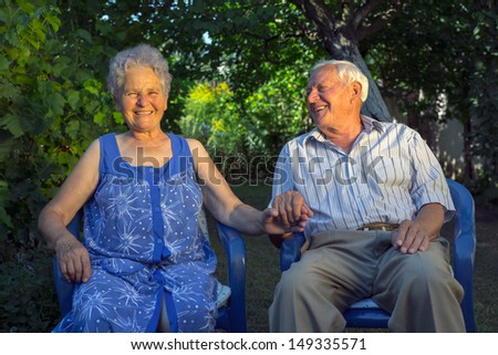 Loving senior couple - stock photo
