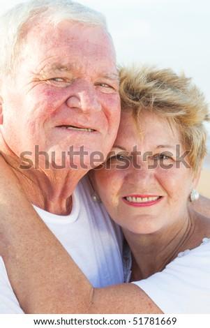 loving senior couple closeup - stock photo