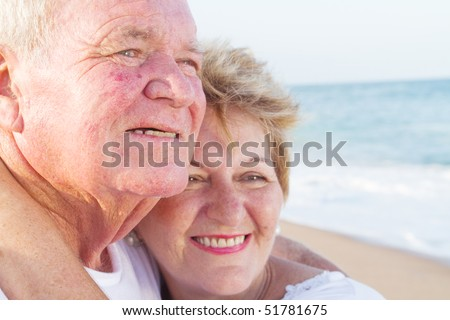 loving senior couple closeup