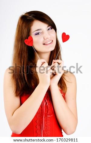 loving teen girl with hearts - stock photo