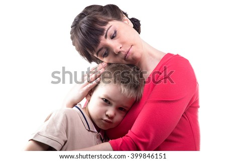 Loving woman and her little son