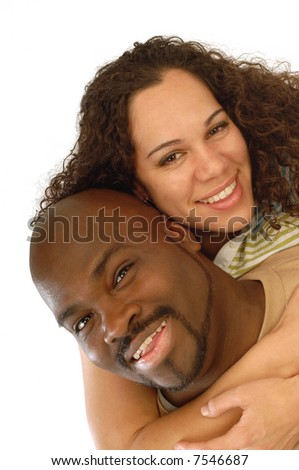 Loving young couple hamming it up for a funny, playful portrait - stock photo