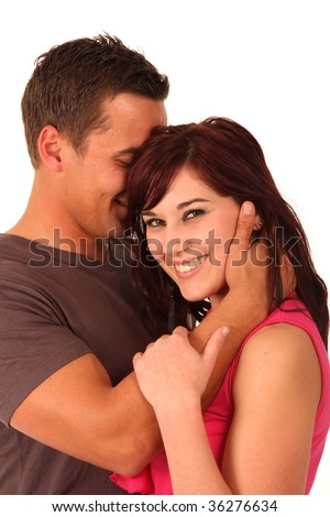 Loving young couple with lady with a big smile