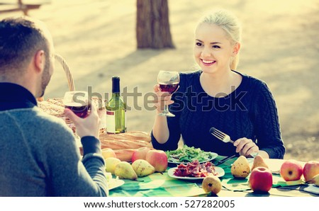 Loving young smiling couple drinking wine and talking on picnic