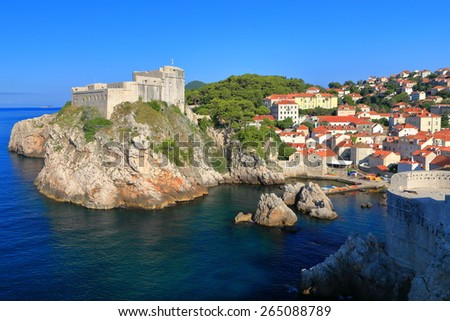 Lovrijenac fort dominates the Adriatic sea, Dubrovnik, Croatia - stock photo