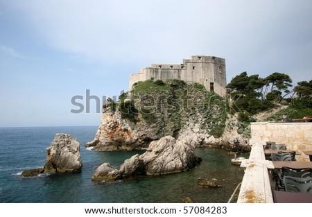 Lovrijenac Fort, seen from Bokar Fort and Adriatic Sea, Dubrovnik - stock photo