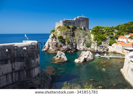 Lovrijenac Fort shoot from the old town walls in Dubrovnik, Croatia - stock photo