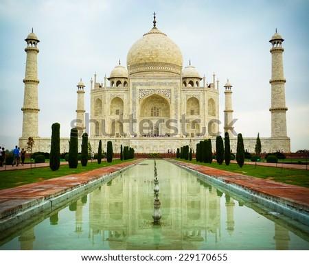 Low angle front view of Taj Mahal mausoleum in Agra, Uttar Pradesh, India - stock photo