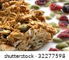 low-angle macro shot of a breakfast granola bar on a white plate sprinkled with pumpkin seeds and dried cranberries - stock photo