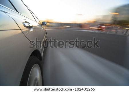 Low angle of car driving