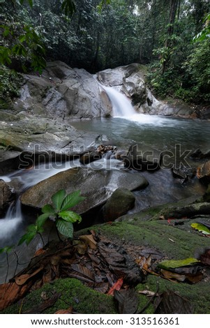 Low angle scenery of a waterfall in green rainforest and streaming water with motion blur in the foreground - stock photo