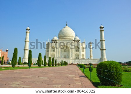 Low angle shot of Taj Mahal, India - stock photo